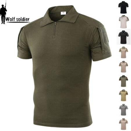 img-Mens Tactical Combat T-Shirts Military Short Sleeve Army Camouflage Casual Shirt