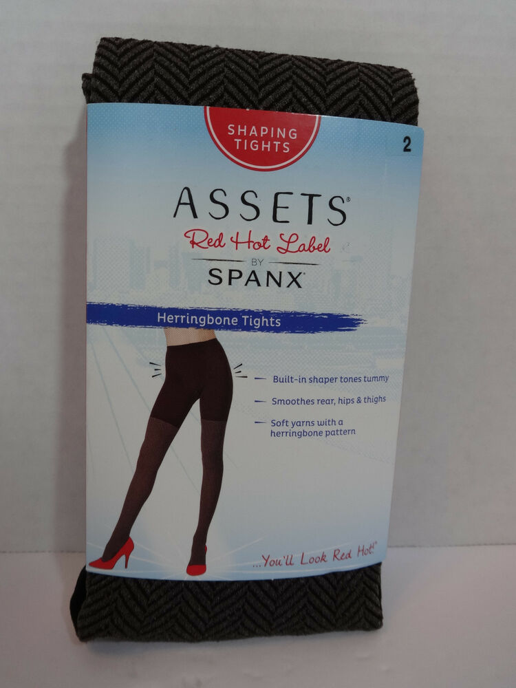 d3a960c4a8f2e Assets Red Hot Label by Spanx Brown Black Herringbone Shaping Tights Size 2  NWT | eBay