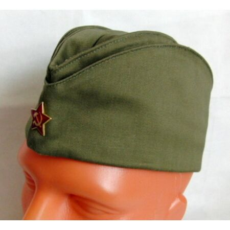 img-Soviet Russian Army Pilotka Garrison Cap Hat Red Star Badge Size 59 L Olive New