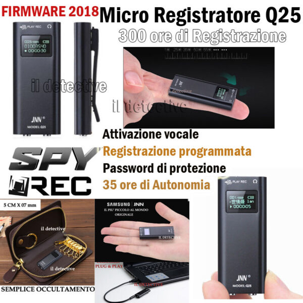 MICRO REGISTRATORE SPIA AUDIO ATTIVAZIONE VOCALE 16 GB SPY MINI AMBIENTALE USB