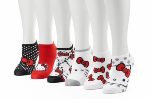 New Women's Sanrio Hello Kitty No-show 6 pair Socks - Shoes Size 4-10
