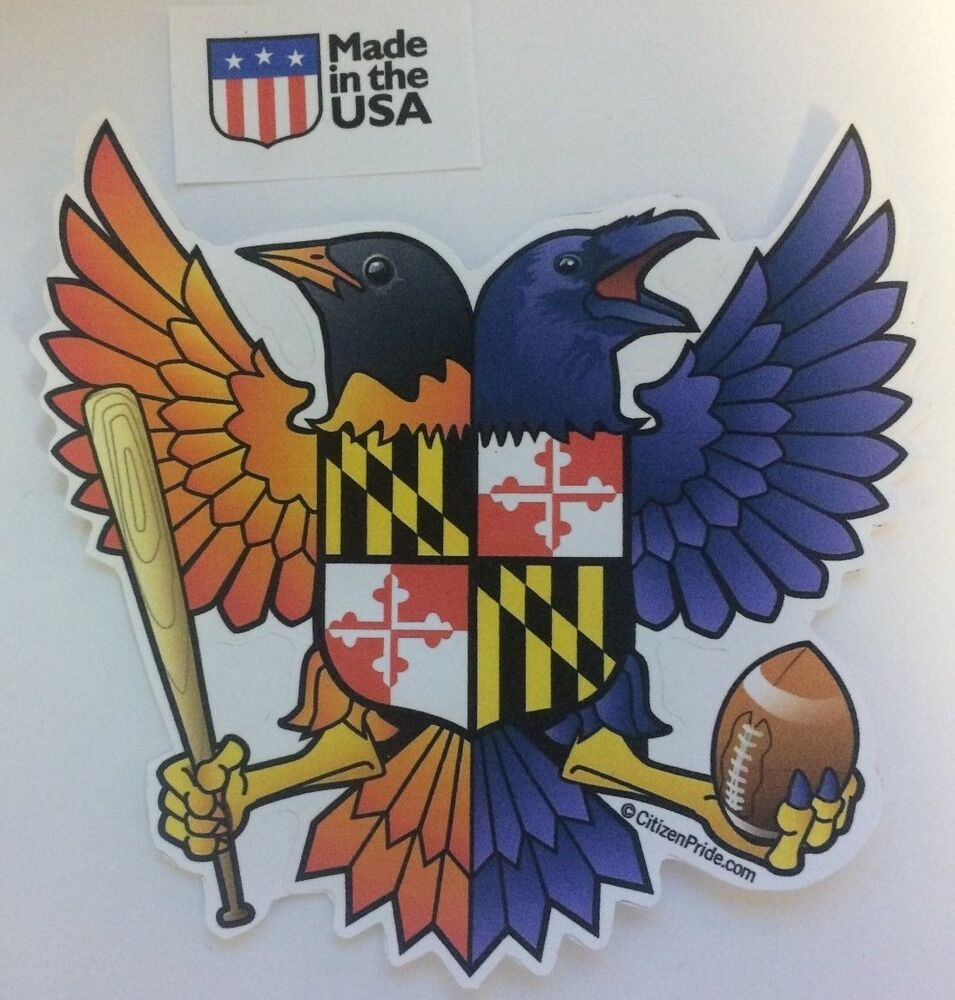 Baltimore ravens orioles maryland flag sticker decal die cut vinyl birdland ebay