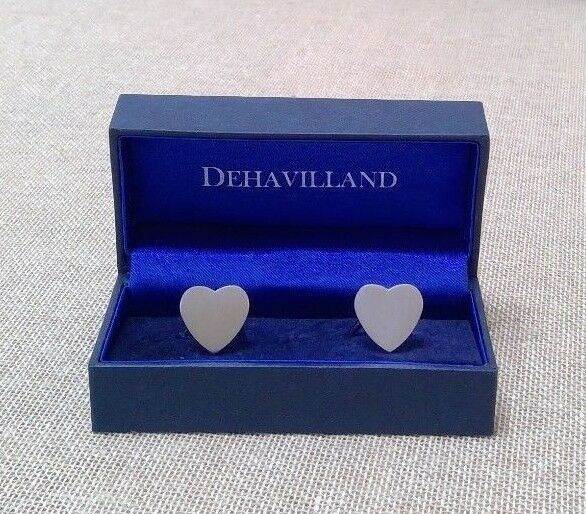 Dehavilland Silver Hearts Cufflinks Groom Wedding Formal Mens Boxed Or Unboxed