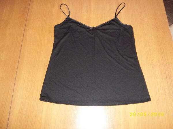 Black V Neck Soft Satin Feel Camisole Top Vest Various Sizes Available