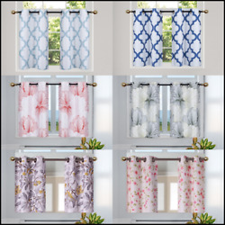 2 PANELS TROPICAL PRINTED DESIGN WINDOW TIER CURTAIN BLACKOUT FLORAL 36''LENGTH