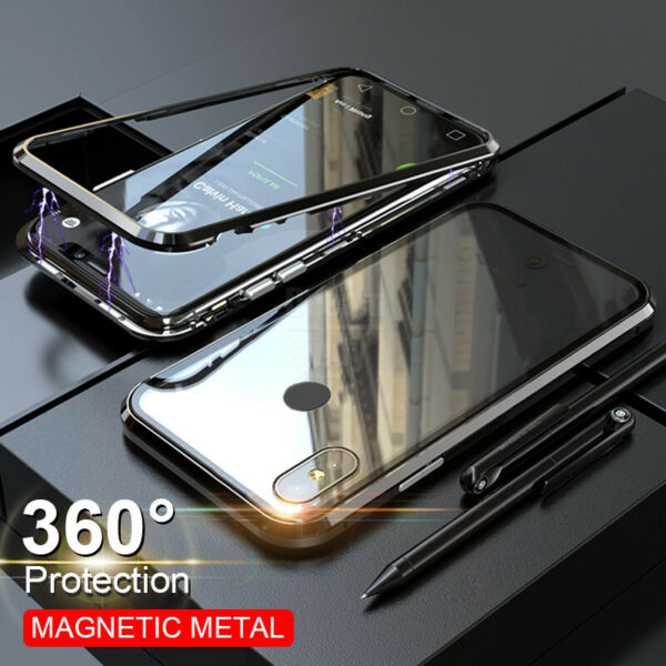 For Xiaomi Redmi Note 8T 8 Pro Magnetic Adsorption Tempered Glass PC Case Cover