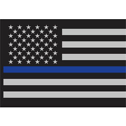 3-Pack Thin Blue Line Law Enforcement Flag Sticky Back Decal 3'' x 4 1/4''