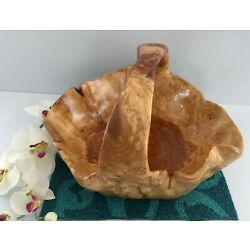 HAND CARVED SHAN MU TREE BURL ROOT WOODEN BASKET size XL 715A