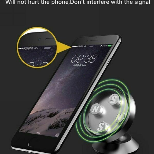 SUPPORT MAGNETIQUE ROTULE 360° PORTE TELEPHONE VOITURE SMARTPHONE GPS PHONE MP3