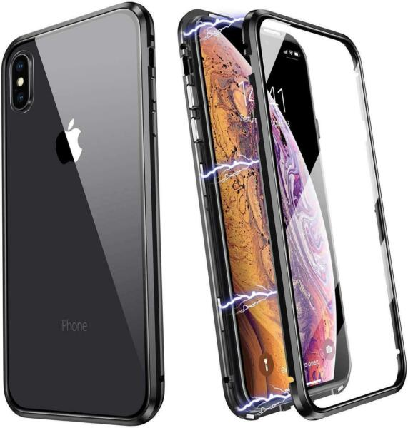 Magnetic Adsorption Metal Bumper Case Temper Glass Cover For Phone XS XR XSMAX X