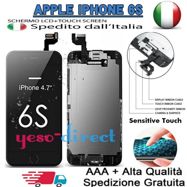 PER IPHONE 6S LCD DISPLAY SCHERMO ASSEMBLATO COMPLETO + Button Camera NERO