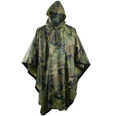 img-HOODED RIPSTOP WATERPROOF MILITARY PONCHO ARMY FESTIVAL HELIKON WOODLAND CAMO