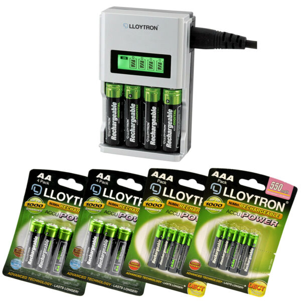 ULTRA FAST LCD INTELLIGENT BATTERY CHARGER PLUS 16 AA AAA RECHARGEABLE BATTERIES