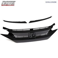 Kyпить For 16 17 18 HONDA CIVIC 10TH Factory Style Glossy Black Mesh Front Hood Grille на еВаy.соm