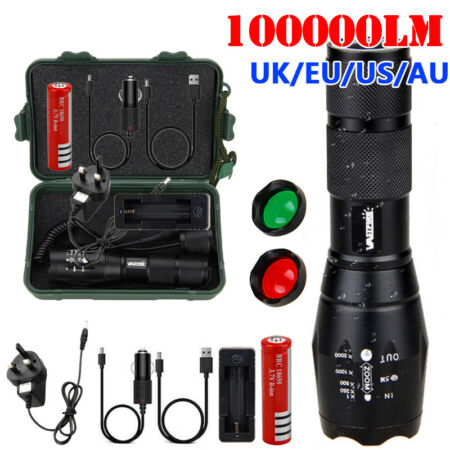 img-100000LM Red/Green T6 LED Torch Tactical Military Zoomable Flashlight Headlamp