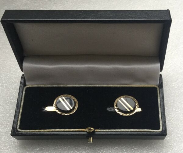 9CT GOLD & ONYX FLASHED PANEL MENS CHAIN LINK CUFFLINKS - FULLY HALLMARKED 1988