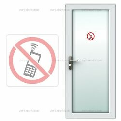 No Phones Allowed 2 Pcs Signal Wall Vinyl PVC Sticker Waterproof Removable Decal
