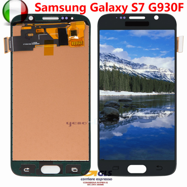 PER SAMSUNG GALAXY S7 SM-G930F G930 LCD DISPLAY VETRO TOUCH SCREEN NERO ASSEMBLY