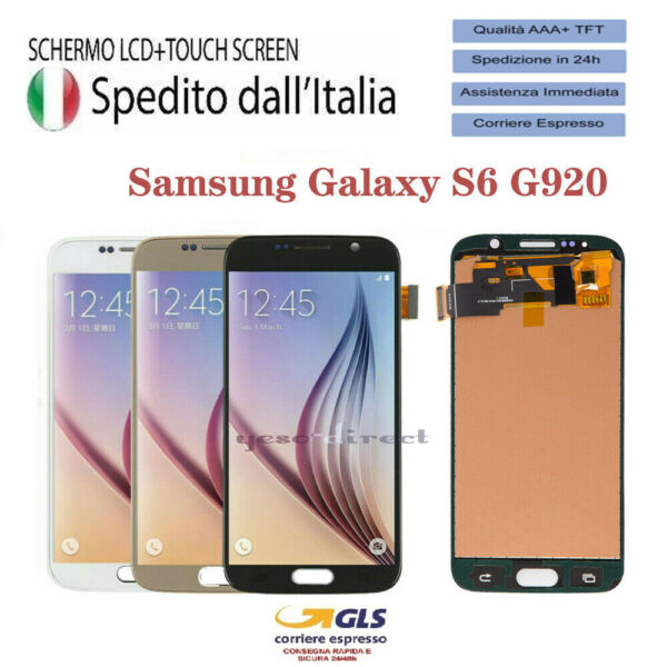 LCD DISPLAY PER SAMSUNG GALAXY S6 SM-G920F G920 VETRO SCHERMO TOUCH SCREEN