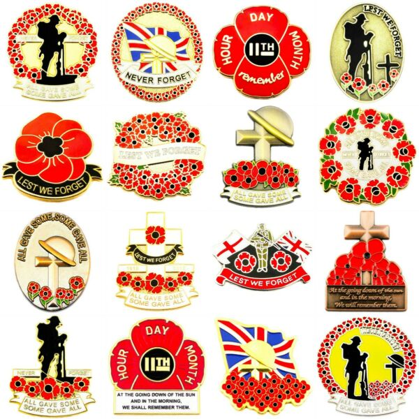 RED POPPY LAPEL PIN ENAMEL BADGE BRITISH UK US MILITARY ARMY DAY 2019 COLLECTION