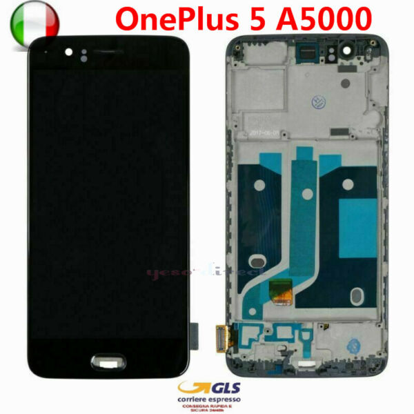 DISPLAY LCD PER OnePlus 5 A5000 1+5 TOUCH SCREEN VETRO SCHERMO NERO CON FRAME