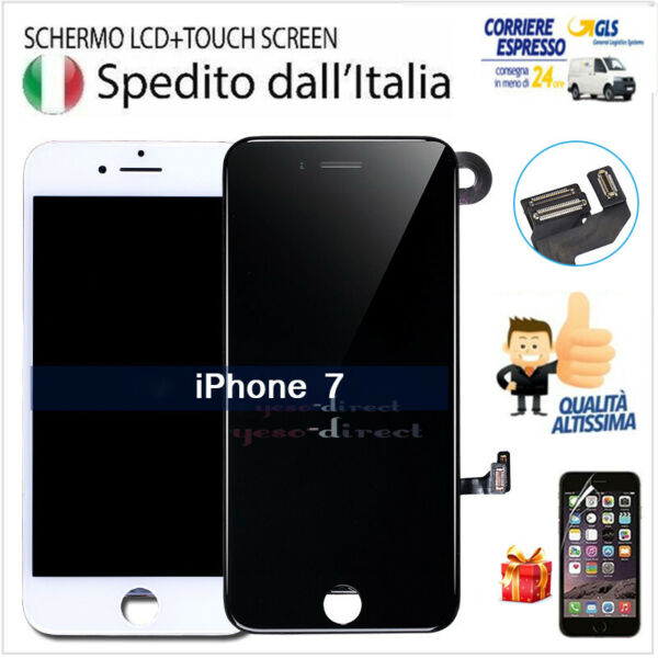 PER IPHONE 7 LCD ASSEMBLATO COMPLETO TOUCH DISPLAY VETRO SCHERMO + CAMERA