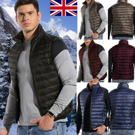 img-Men Down Jacket Sleeveless Lightweight Puffer Duck Down Vest Quilted Body Warmer
