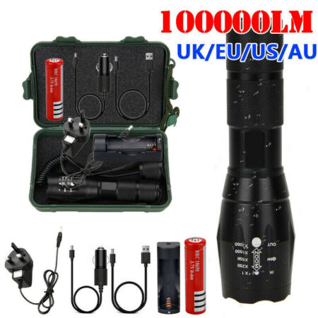 img-100000LM T6 LED Waterproof Torch Tactical Military Zoomable Flashlight Headlamp