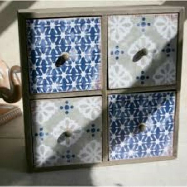 Small 4 Drawer Shabby Chic Storage Box Fairtrade