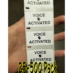 ''VOICE ACTIVATED'' 25-1000 Pack Stickers Gag prank sticker