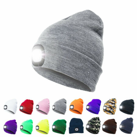 img-4LED Knit Hat USB Rechargeable Hands Free Flashlight Cap for Climbing Fishing