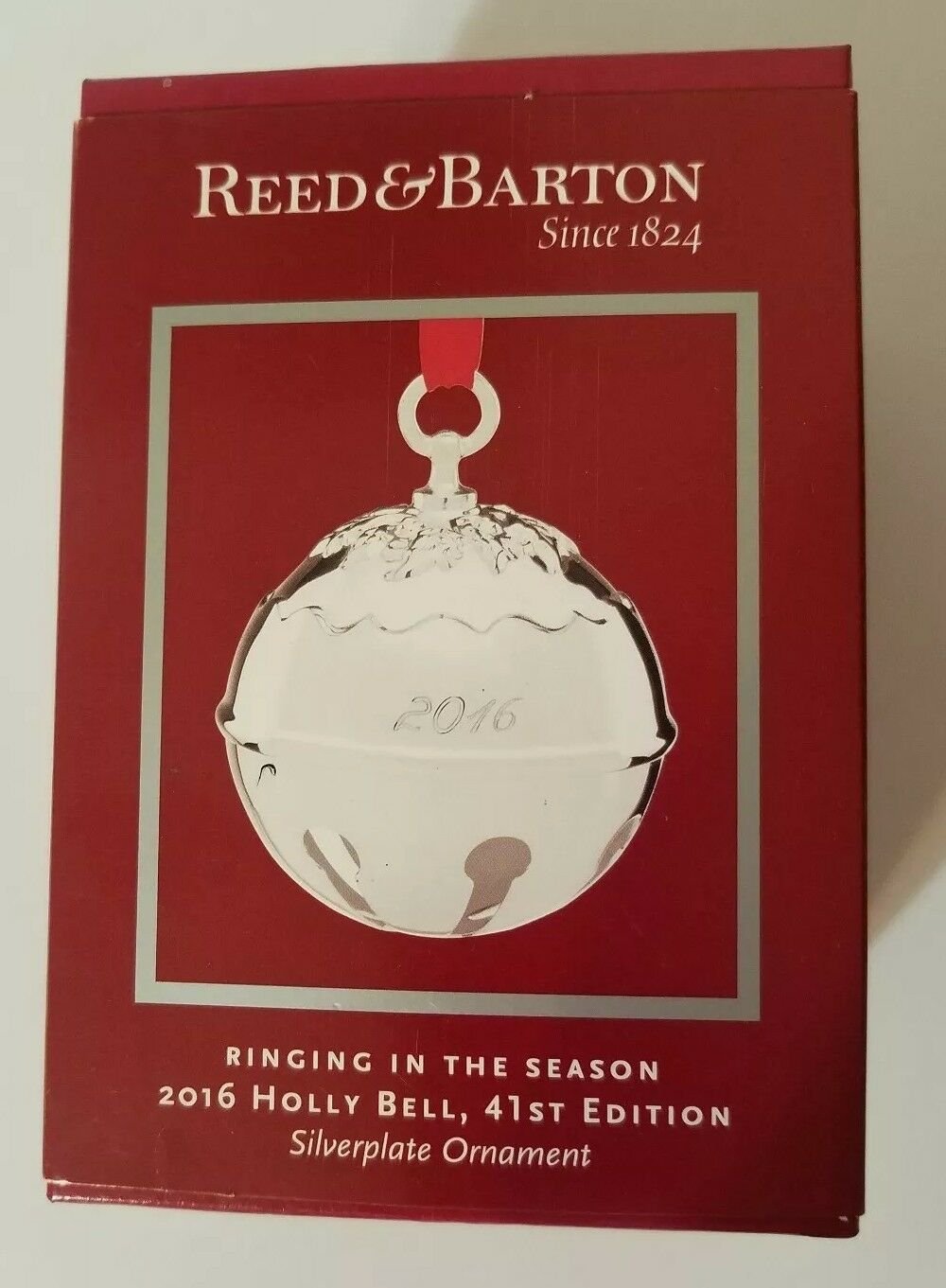 NOS 2016 Reed Barton 41st Annual Silver Plate Holly Bell Christmas Ornament