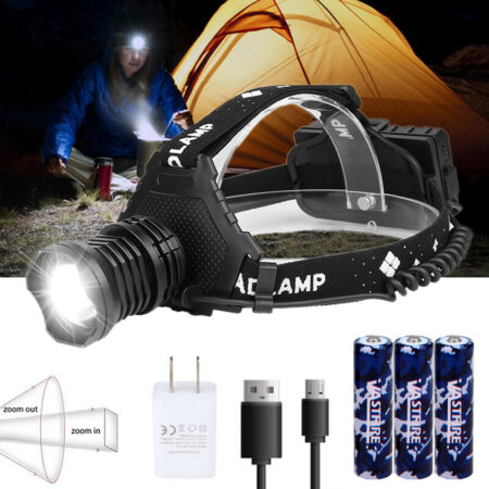 img-XHP70 LED Headlamp Zoom USB Rechargeable 5 Modes Headlight Hiking Searching Lamp