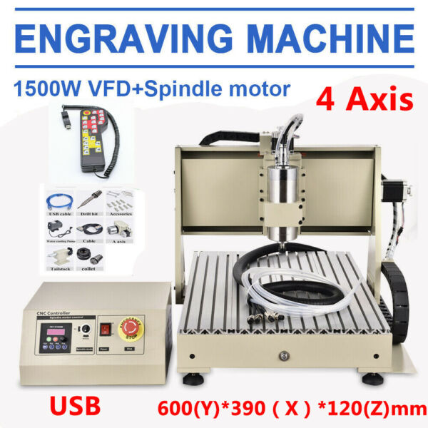 4 ASSI 6040 CNC Router Engraver Macchina per incisioni Kit+Controller USB 1.5KW