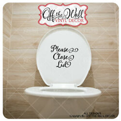 Bathroom Toilet''Please Close Lid'' Toilet decal sticker sign