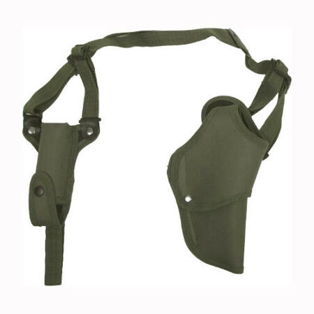 img-PISTOL SHOULDER HOLSTER MAGAZINE POUCH ARMY TACTICAL AIRSOFT RIGHT HAND OLIVE