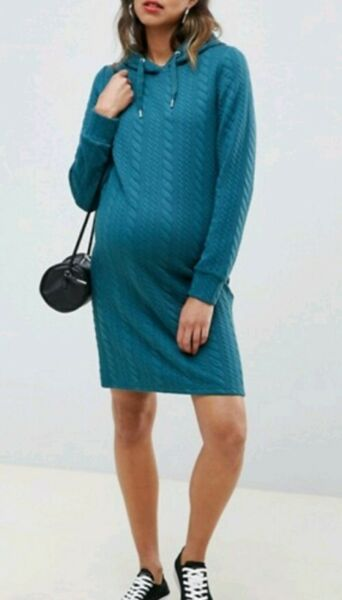 Ladies Asos Mamalicious Green Teal Winter Maternity Hooded Dress Size 16