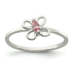 .925 Sterling Silver Children's Pink CZ Butterfly Kid's Ring Sizes 3 to 4
