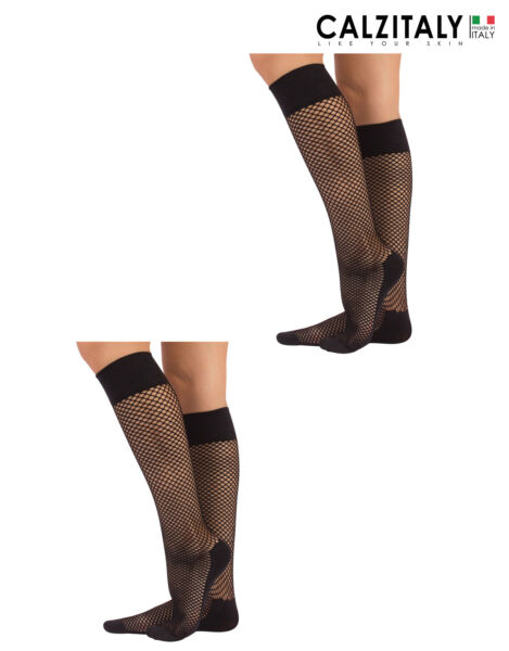 ItaliePACK 2 Pairs Fishnet Knee-High Socks, Micro Fishnet Knee Highs - Made in Italy