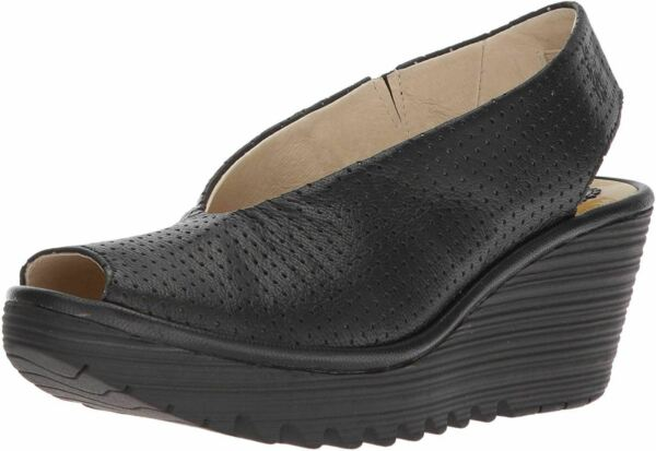 Fly london Yazu736fly Black Womens Leather Wedge Shoes