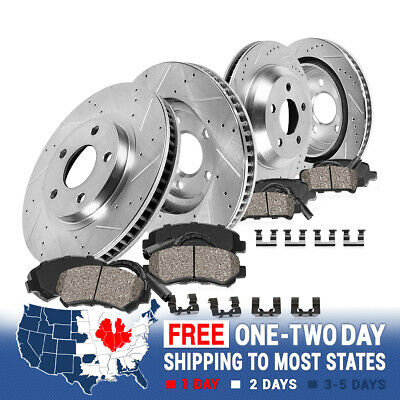 For BMW 535 550 Series Front+Rear Drilled Slotted Brake Rotors & Ceramic Pads