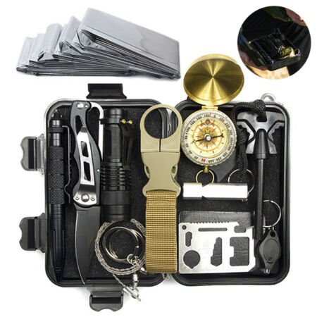 img-13in1 SOS Outdoor Kit Emergency Equipment Box Camping Survival Kit Tactical -UK.