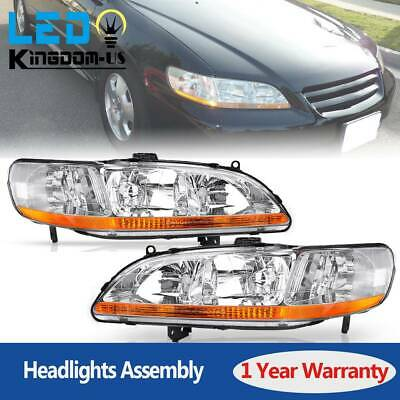 for 1998-2002 Honda Accord Headlights Headlamps Replacement Pair Chrome Housing