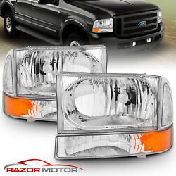 Kyпить For 99-04 F250/F350/F450/F550 Super Duty/00-04 Ford Excursion Chrome Headlights на еВаy.соm