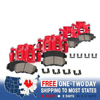 Front+Rear Red Brake Calipers + Ceramic Pads For 2005 2006 2007 Ford F350