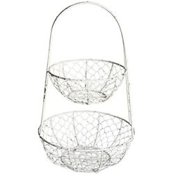 Z01923 Vintage Metal Chicken Wire Tier Fruit And Vegetable Storage FREE SHIP