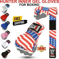 Hunter Gel Inner Boxing Gloves With Wrist Hand Wraps Padded MMA wraps Thai PAIR