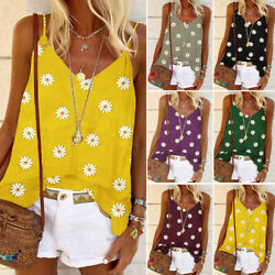 Women Summer Daisy Print Strappy Tops Cami Vest Ladies Casual Baggy Shirt Blouse