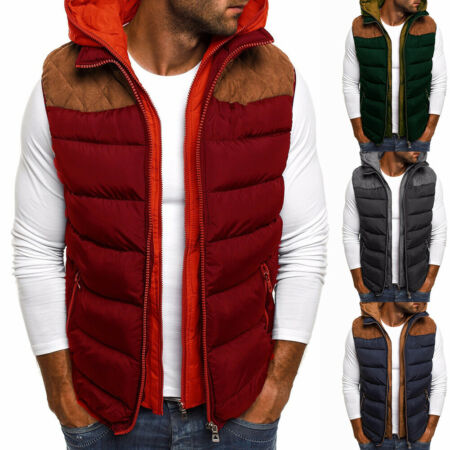 img-FM_ Mens Sleeveless Gilet Quilted Coat Cotton Padded Hooded Vest Jacket Body War