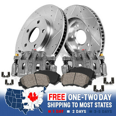 Front Brake Calipers And Rotors & Ceramic Pads For 2006 2007 2008 DODGE RAM 1500